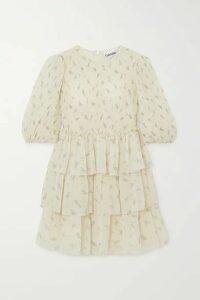 GANNI - Tiered Ruffled Floral-print Georgette Mini Dress - Ivory
