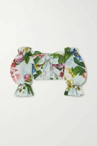 Dolce & Gabbana - Cropped Off-the-shoulder Floral-print Cotton-poplin Top - Blue