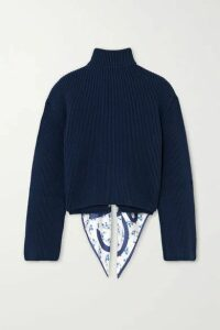 Loewe - Open-back Ribbed Cotton And Printed Silk-twill Sweater - Navy
