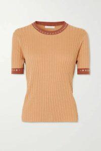 Chloé - Eyelet-embellished Ribbed Silk And Cotton-blend Top - Orange