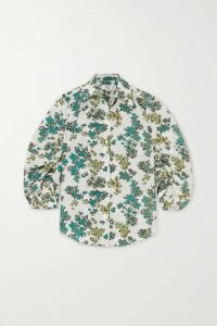 Victoria, Victoria Beckham - Gathered Floral-print Crepe Shirt - Green