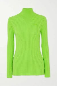 COURREGES - Embroidered Ribbed Cotton Turtleneck Sweater - Bright green