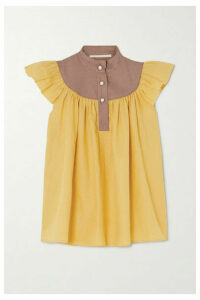 Anna Mason - Kasia Belted Ruffled Linen Blouse - Mustard