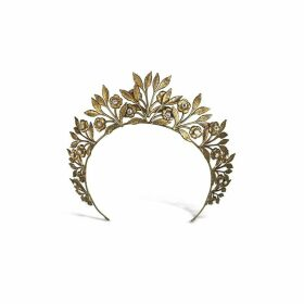 Halo & Co Golden Leaves And Diamontee Headpiece