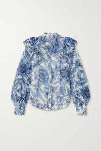 Erdem - Caterina Ruffled Floral-print Cotton And Silk-blend Voile Blouse - Blue