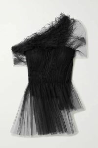 Jason Wu Collection - One-shoulder Ruffled Gathered Tulle Peplum Top - Black