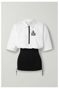 Burberry - Paneled Cotton-poplin And Ribbed-knit Shirt - White