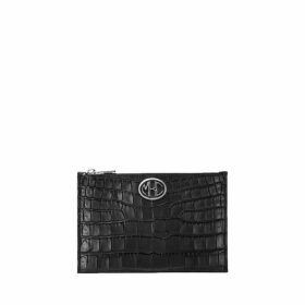 Michael Kors Collection Monogramme Crocodile-embossed Leather Pouch