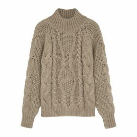 Villao Brown Cable-knit Wool-blend Jumper
