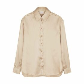 Villao Champagne Stretch-silk Satin Shirt