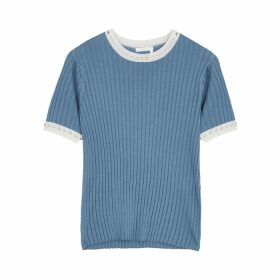 Chloé Blue Eyelet-embellished Rib-knit Top