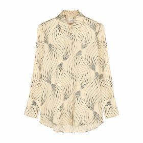 Victoria, Victoria Beckham Ivory Printed Satin Shirt