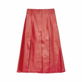 A.W.A.K.E MODE Red Faux Leather Midi Skirt