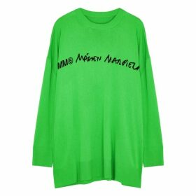 MM6 By Maison Margiela Green Logo-intarsia Fine-knit Jumper