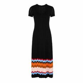 M Missoni Black Chevron-intarsia Cotton-blend Midi Dress