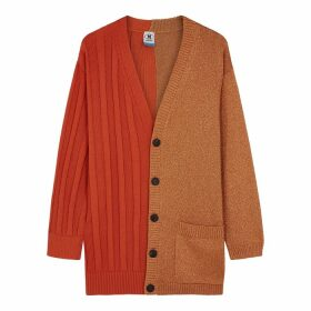 M Missoni Orange Panelled Cotton-blend Cardigan