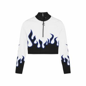 Adam Selman Sport Flame Printed Half-zip Top