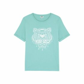 Kenzo Turquoise Tiger-print Cotton T-shirt