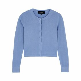 Paule Ka Blue Knitted Silk-blend Cardigan