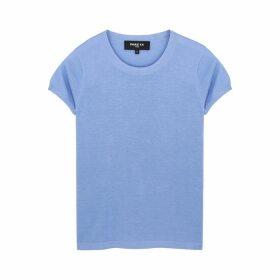 Paule Ka Blue Knitted Silk-blend T-shirt