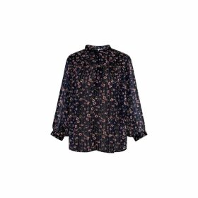 Gerard Darel Printed Muslin-style Blouse With Lurex