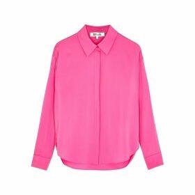Diane Von Furstenberg Leanna Pink Stretch-silk Shirt