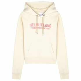 Helmut Lang Sand Logo Hooded Cotton Sweatshirt