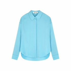 Diane Von Furstenberg Leanna Blue Stretch-silk Shirt