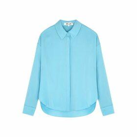 Diane Von Furstenberg Leanna Blue Stretch-silk Shirt