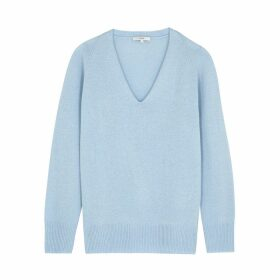 Vince Light Blue V-neck Wool-blend Jumper