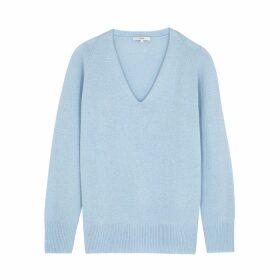 Vince Light Blue V-neck Wool-blend Jumper