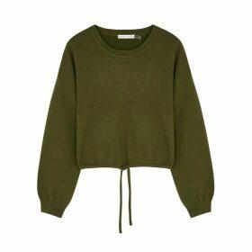 Alice + Olivia Bernetta Army Green Wool-blend Sweatshirt