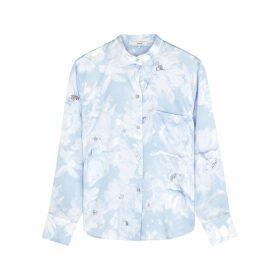 Vince Blue Floral-print Satin Blouse