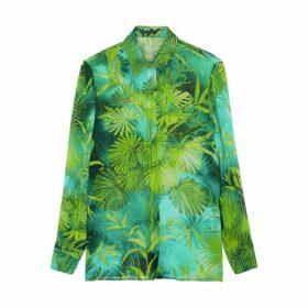 Versace Green Printed Silk-chiffon Blouse