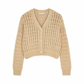 Vince Light Brown Cropped Open-knit Cardigan