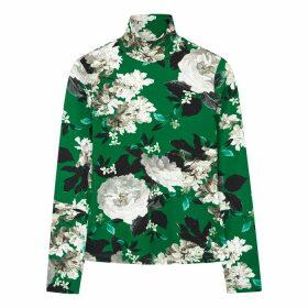Erdem Kelly Green Floral-print Jersey Top