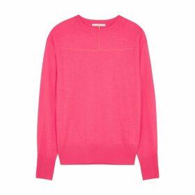 Helmut Lang Neon Pink Fine-knit Cashmere Jumper