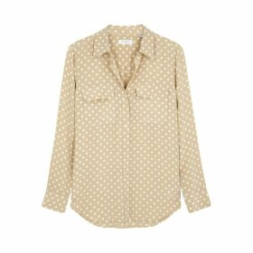 Equipment Slim Signature Polka-dot Silk Shirt