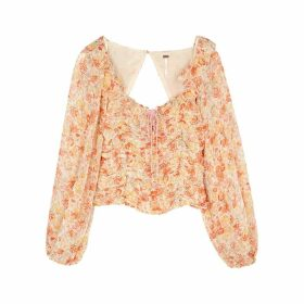 Free People Mabel Floral-print Chiffon Top