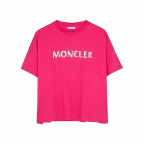 Moncler Pink Logo-print Cotton T-shirt