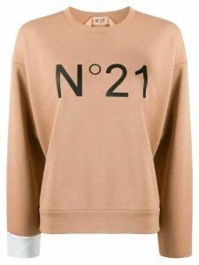 Nº21 logo print crew neck sweatshirt - NEUTRALS