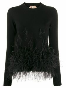 Nº21 feather hem knitted top - Black