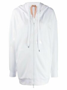 Nº21 logo zipped hoodie - White