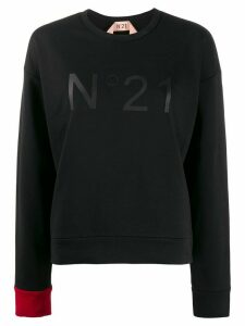 Nº21 contrasting cuff crew neck sweatshirt - Black