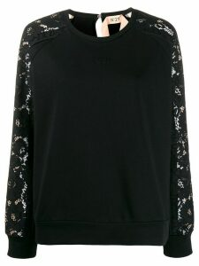 Nº21 lace long-sleeved crew neck sweatshirt - Black