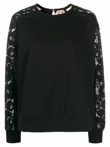 Nº21 floral lace sleeves sweatshirt - Black