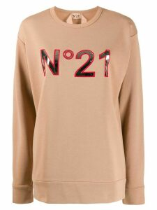 Nº21 logo applique sweatshirt - NEUTRALS