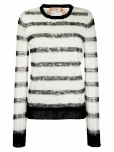 Nº21 floral lace striped jumper - White