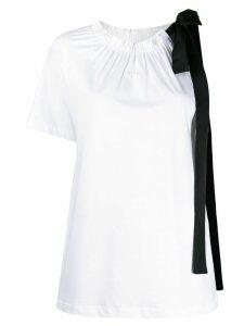 Nº21 asymmetric sleeves bow T-shirt - White