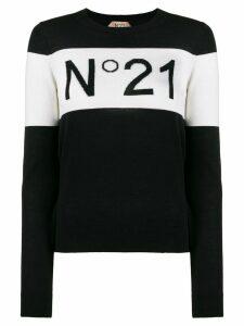 Nº21 brand intarsia crew neck jumper - Black